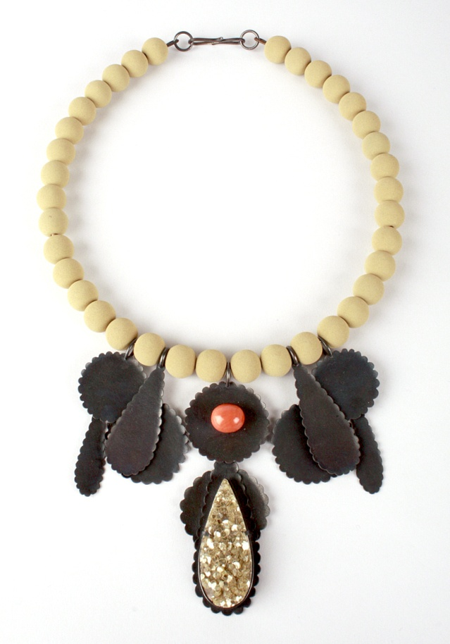 Zoe Arnold - 'Biscuit shape' necklace, in oxidised silver, antique coral and lava beads.