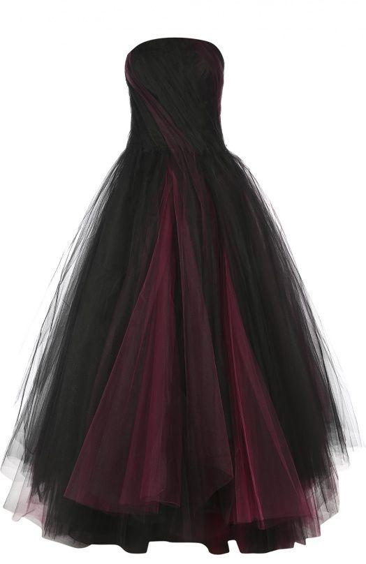 Многослойное платье-бюстье в пол Oscar de la RentaПлатья