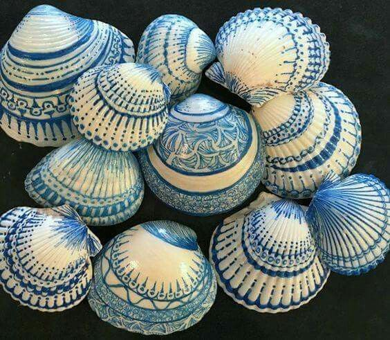 Sharpied Sea Shells: Use 1.0 size sharpie, following lines, curves. By Barbara Moloney Callen