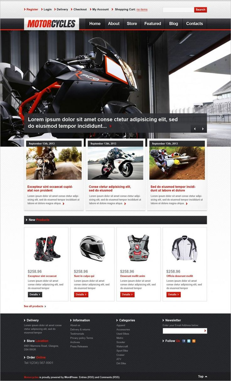 These Free & Premium Jigoshop Themes for Bike Shop are so flexible that they can be used for blogging purposes as well. They come with sliders, header and footer areas, customizable sidebars and SEO friendly codes.