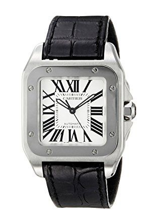 Cartier Midsize W20106X8 Santos 100 Automatic Leather Watch for women & men. This luxurious Cartier watch features a smooth black alligator strap & polished stainless steel construction, including a 32 mm case, bezel, deployment buckle, and octagonal crown with faceted spinel. Through a scratch-resistant sapphire dial window, square silvered opaline-white dial, luminescent black oxidized steel hands. Swiss-automatic self-winding movement, water resistant to 330 feet.(affiliate link)