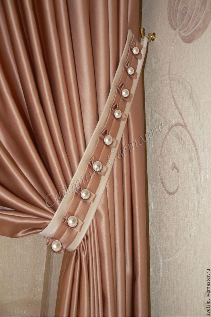Купить Комплект для спальни из однотонной ткани. Шторы, покрывало, подушки. - комбинированный, сваги, класические шторы