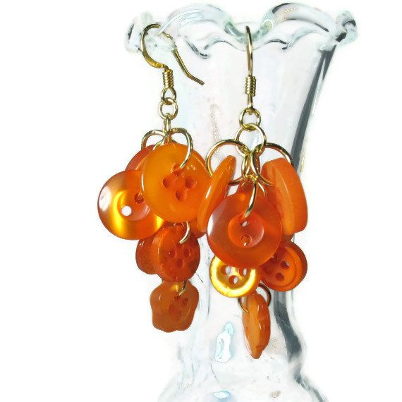 Button Dangle Earrings- Upcycled Jewelry in Orange