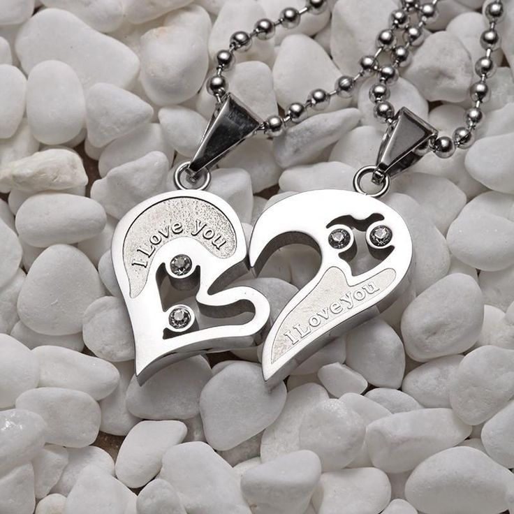 pendant stainless s chain necklace silver blue LOVE