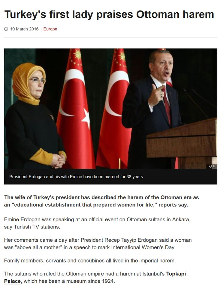 """Misogynistic Idolatries: Turkey's first lady praises Ottoman harem. https://www.pinterest.com/holyheretics/misogynistic-idolatries/ """"The emancipation of women requires the emasculation of God."""" - Ex-Catholic theologian Mary Daly. > """"The Bible and the Church have been the greatest stumbling blocks in the way of women's emancipation."""" – Elizabeth Cady Stanton, The Woman's Bible."""