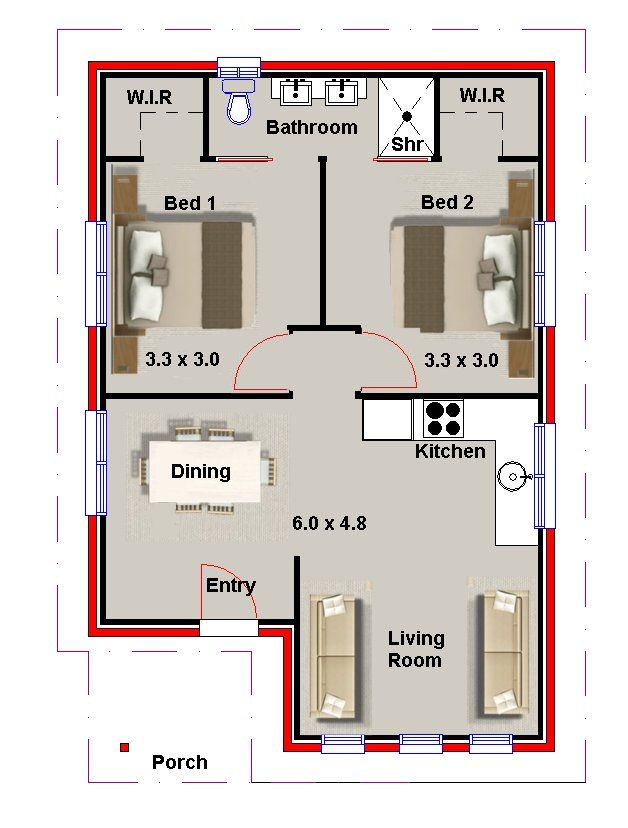 2 bedroom small house plans and granny flats australian for Granny house floor plans