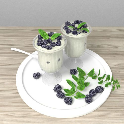 Milky dessert with blackberry and mint | 3D Model