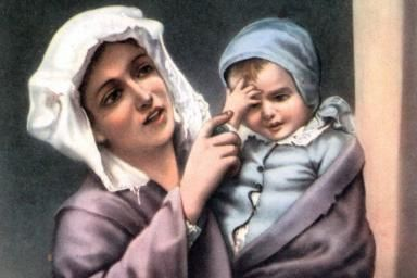 A Prayer to Saint Monica for Mothers: A postcard of a mother teaching her child to make the Sign of the Cross.