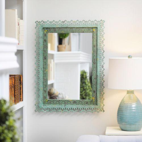 Adele Distressed Green Framed Mirror, 25x33 | Kirklands: