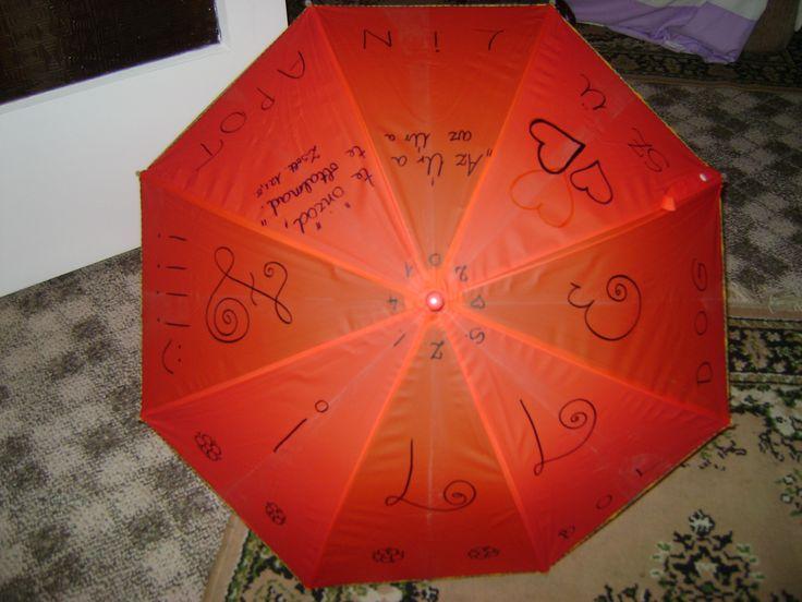 Esernyő mintázat házilag. A dizájn, a saját fantáziádra van bízva. Egy alap színű esernyő, kb. 500Ft, ha van vízálló filced, akkor erre kiváló! Én a Keresztlányaimnak készítettem ilyet, nagyon örültek neki! Főként, mert egyedi, és névre szóló. :) Csak ajánlani tudom másnak is!