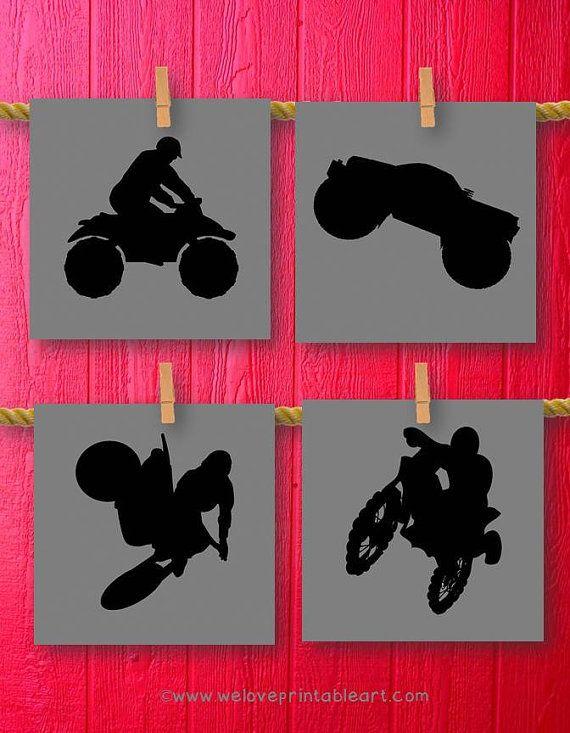 Nursery, Dirt Bike Motorcycle Monster Truck Decor Boy Room Decor, Teen Teenager Boy Art, Kids Decor, Sports Decorations, Wall Art Camouflage on Etsy, $20.00