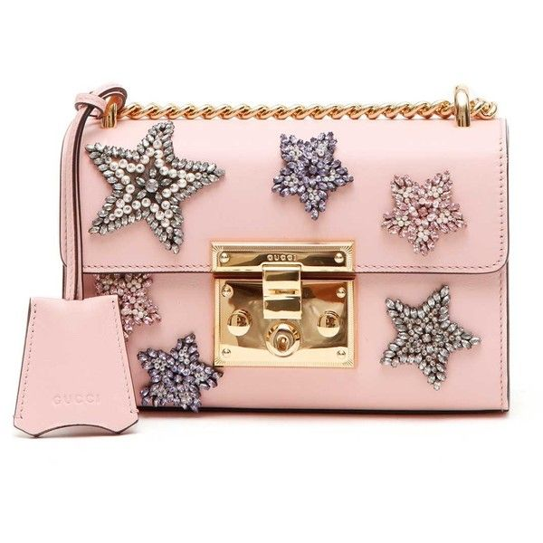 GUCCI 'Padlock' Mini Leather Shoulder Bag With Stars Patches (135,805 DOP) ❤ liked on Polyvore featuring bags, handbags, shoulder bags, gucci shoulder bag, pink purse, genuine leather handbags, pink leather purse and leather purses