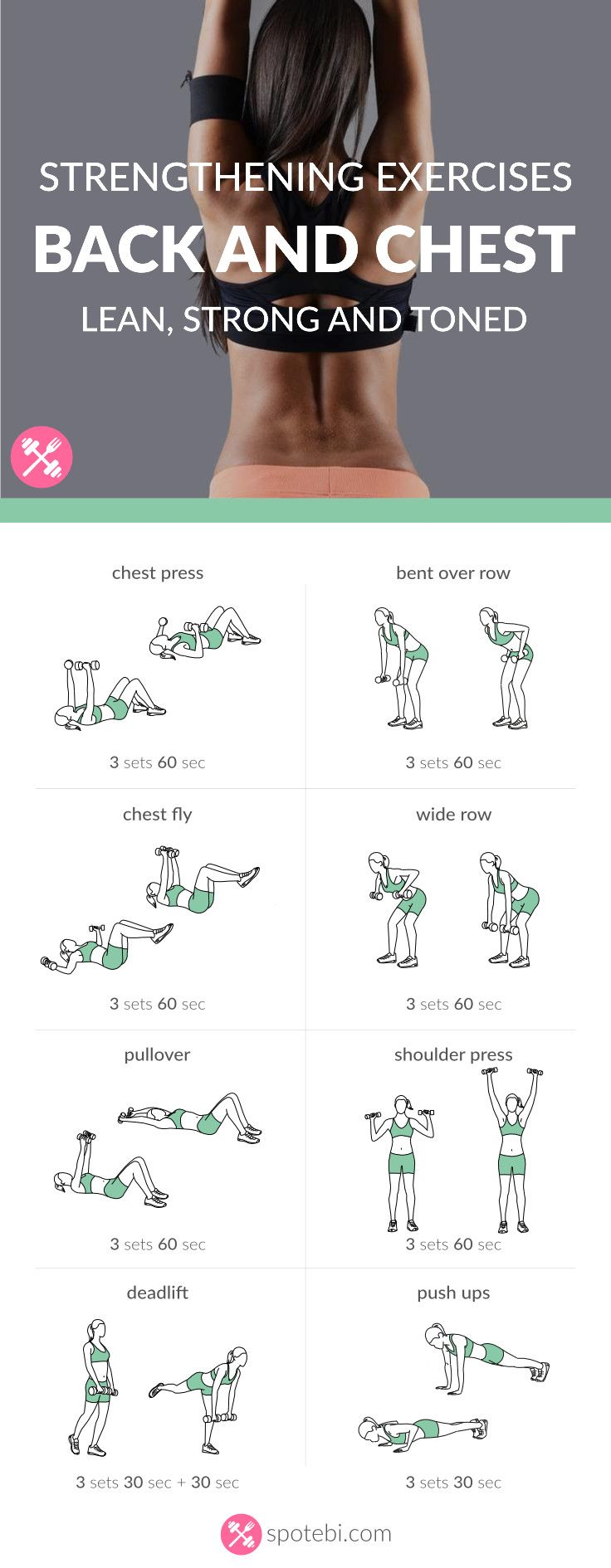 Try these chest and back strengthening exercises for women to help you tone, firm and lift your chest and improve your posture. http://www.spotebi.com/workout-routines/chest-back-strengthening-exercises-lean-strong-toned/
