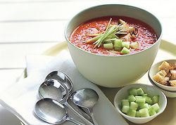 Grilled Tomato-Bell Pepper Gazpacho