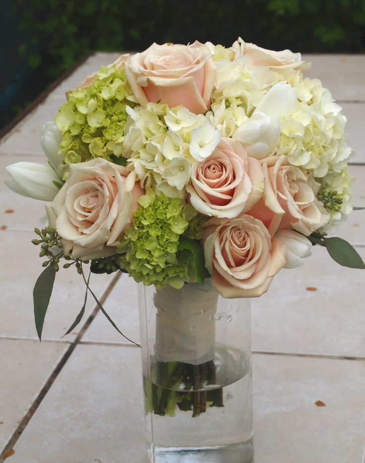 Sahara Rose and Hydrangea wedding flower bouquet, bridal bouquet, wedding flowers, add pic source on comment and we will update it. www.myfloweraffair.com can create this beautiful wedding flower look.