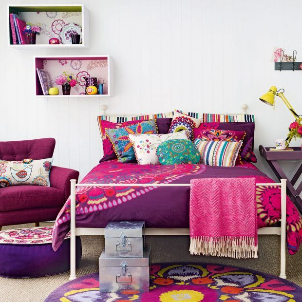 Looking for a whole new look for your teen's bedroom? Start with plain, neutral furniture and introduce bold patterned bedlinen, cushions and throws. Folksy patterns like paisley provide a bright uplifting scheme, while neutral walls ensure the strong pinks and purples aren't too overpowering.