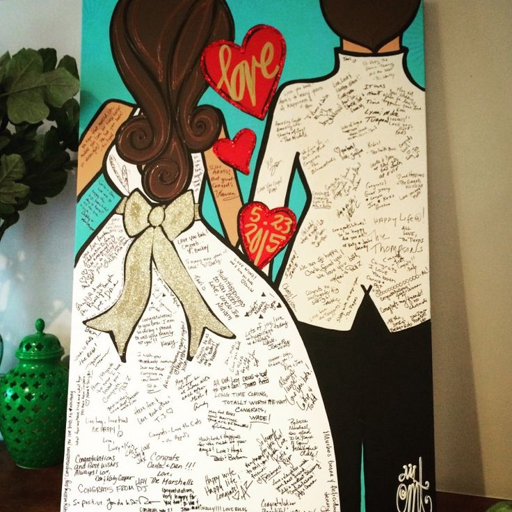 """Customizable Twiggy Bridal Wedding Guestbook Painting! 24x36 