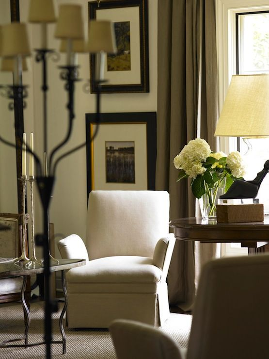 Suzie: Wolfe Rizor Interiors - Chic, elegant living room with mink linen curtains, black & ...