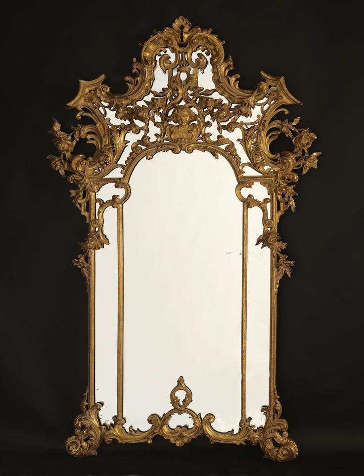 A Fine and Ornate Antique Rococo Style Giltwood Mirror, Italian, Circa 1890.