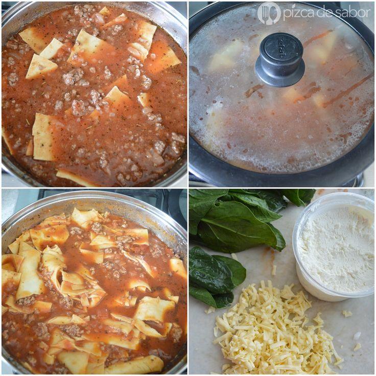 Lasaña al sartén (sin horno y lista en 25 minutos) www.pizcadesabor.com