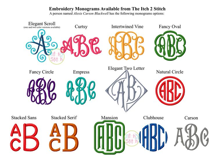 Monogram Options available from The Itch 2 Stitch http://www.theitch2stitch.com/Embroidery-Monograms.html