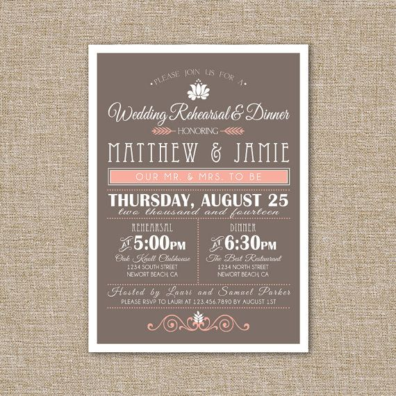 Wedding Rehearsal DInner Invitation Peach and Brown by JRaeCardArt, $15.00