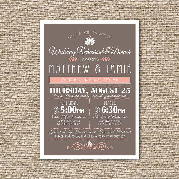 Wedding Rehearsal DInner Invitation Peach and Brown by JRaeCardArt, $15.00