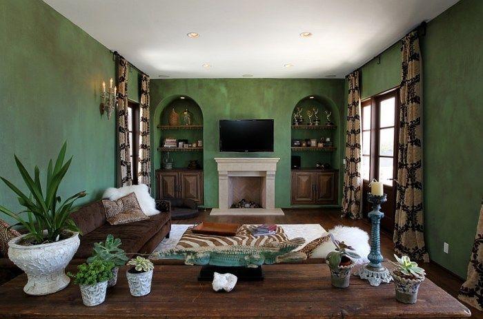 гостиная с зеленой стеной - Поиск в Google