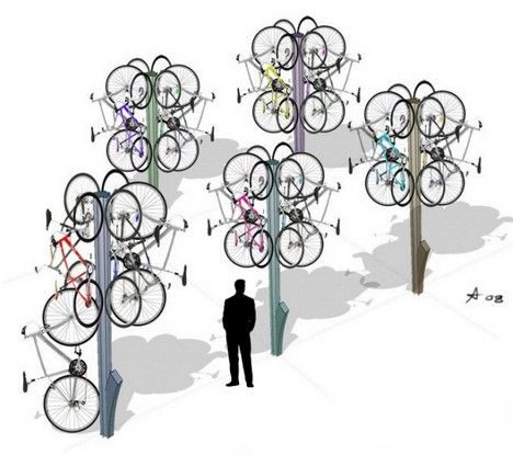"""""""Bike Tree"""" Keeps Bikes Off Ground, Away From Sticky Fingers : TreeHugger"""