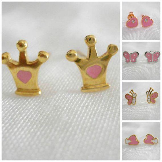 Child's crown studs Little girls earrings Minimalist by Poppyg