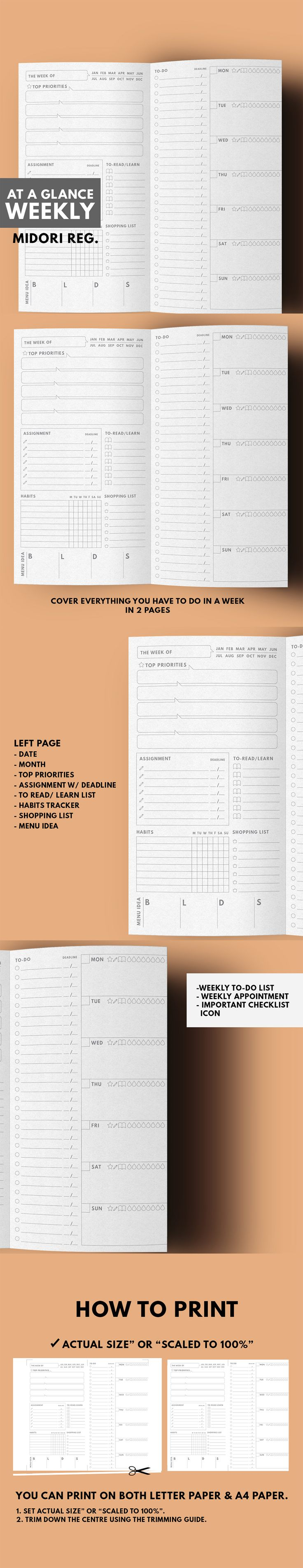 At A Glance Weekly Planner in minimal layout This 2 Weekly Planner are contain all list / space for everything you need to get thing done in 1 week