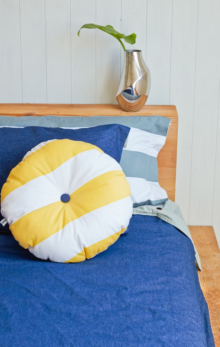 Taxi Stripe Roundie Cushion with our deep Denim Quilt Cover Set and Grey Stripe Pillowcase. All online at our shop | http://onekinddesign.com.au/ #kidsspaces #kidsbedding #kidsrooms #childrensrooms #australia