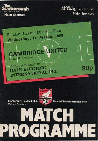 Scarborough 2 Cambridge Utd 1 in March 1989 at the McCain Stadium. The programme cover #Div4