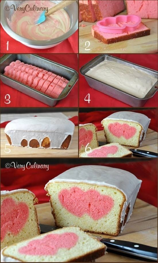 Cute Valentine's Day Pound Cake by Very Culinary. - You should make this for the coffee shop!