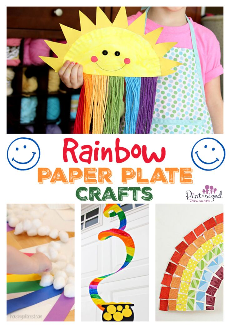 Rainbow Paper Plate Crafts - fun crafts for kids for spring or St. Patrick's Day!