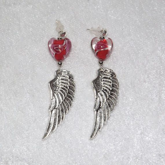 Earrings  Wing and Swirled Heart Red  Free UK P&P  by KasumiCrafts