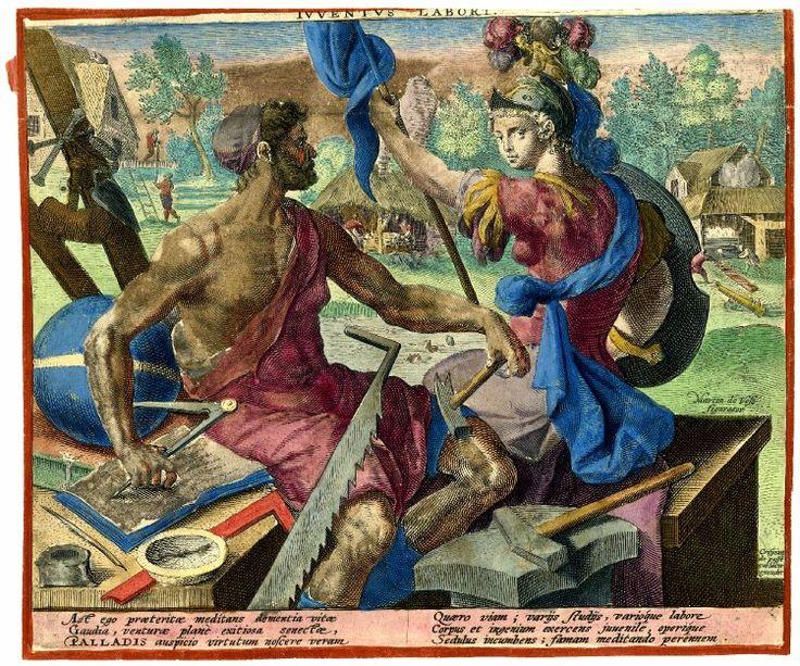 """Juventus Labori"" by Crispijn de Passe after Marten de vos 1596"