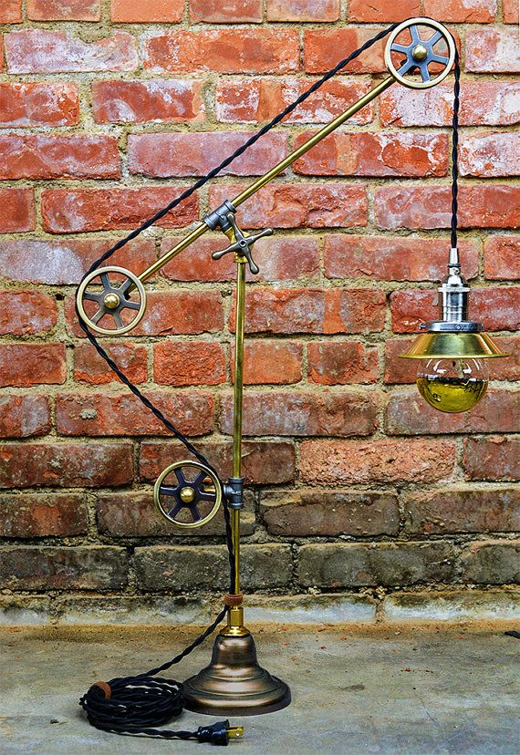 Pulley Table Light - Steampunk - Pulley Lamp - Antique Style - Adjustable - Two Tone - Office Lamp - Architect Lamp