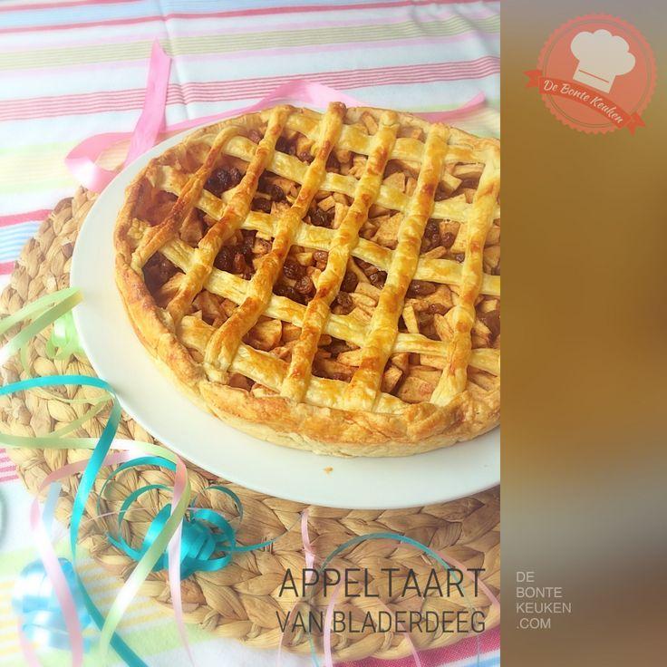 DeBonteKeuken: Appeltaart van bladerdeeg (appels, kaneel, basterdsuiker, rozijnen, citroensap, bladerdeeg, custardpoeder, makkelijk, simpel, recept, oven, bakken, gebak, homemade, high tea)