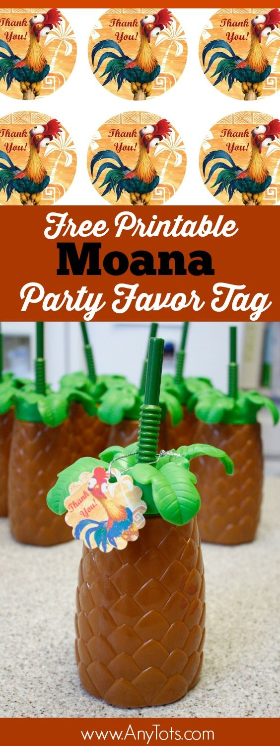 "Moana Party Favor Idea: Palm Tree Cups with Free Printable ""Hei hei"" Moana Party Favor Tag. www.anytots.com for more Moana Party Ideas."