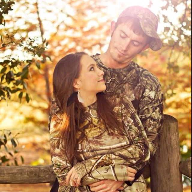 Camo, now add a little baby in camo and it would make a really cute camo family photo. But It would be a good engagement picture