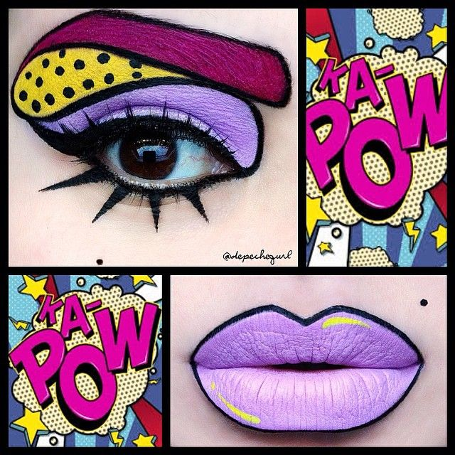 """•⚡Cute Pop Art⚡• Eye products - Stila """"Deep Fuchsia Eyeliner and """"Hotsy Totsy"""" Eyeshadow from the Sparkle Baby Palette by @sugarpill for the brows. All of the line work was done with @nyxcosmetics Black Liquid Liner and Two Timer Eyeliner. @ardell_lashes #402 Edgy Lashes. """"Frostine"""" Eyeshadow from the @sugarpill Sparkle Baby Palette. Sephora """"Banana Split"""" Eyeliner as a base and Sugarpill """"Buttercupcake"""" Eyeshadow patted on top. (Eye make up is inspired by a pop art look that is all over the…"""