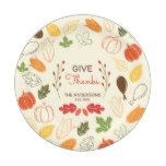 Give Thanks. Custom Name and Date. Paper Plate #thanksgiving