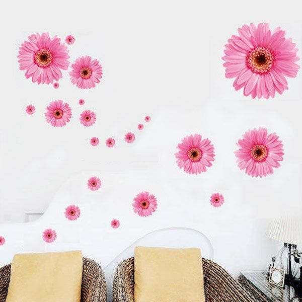 $2.73 DIY Home Decoration Repositionable 3D Gold Flower Self-adhesive Wall Decor Sticker