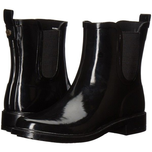 Tory Burch Stormy Rain Bootie (Black) Women's Rain Boots ($198) ❤ liked on Polyvore featuring shoes, boots, ankle booties, platform bootie, black boots, black bootie boots, black booties and platform ankle boots
