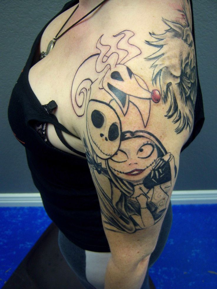 Jack sally and zero done by john hansen love this tattoo for Jack skellington and sally tattoos