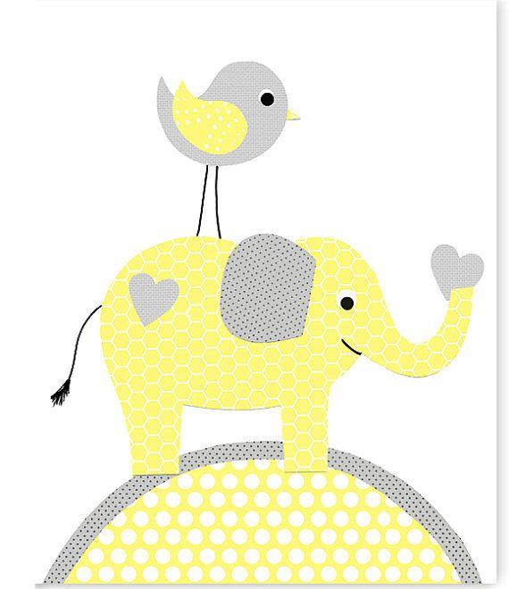 Dormitorio amarillo y gris elefante bebé niña vivero Decor, bebé, género neutro, vivero selva, pájaro, amarillo limón, arte de la lona de elefante