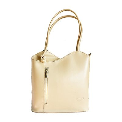 Multi-Way Cream Leather Shoulder Bag/Backpack - £49.99
