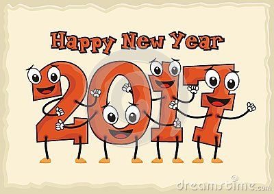 Happy new year 2017 with together cartoon number were holding