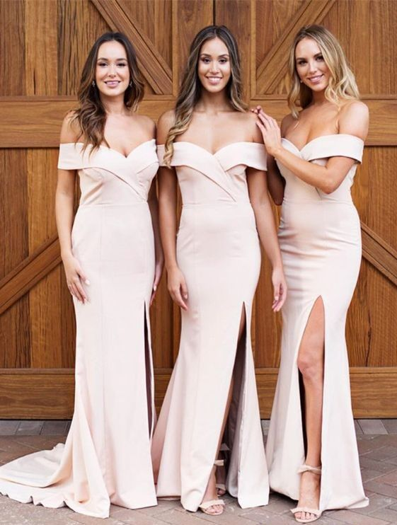 d10c85c968 Blush Pink Long Bridesmaid Dress Off The Shoulder Sexy Slit Prom ...